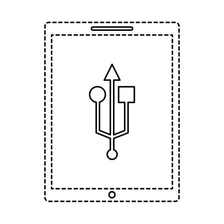 device technology tablet computer usb connection vector illustration Illustration