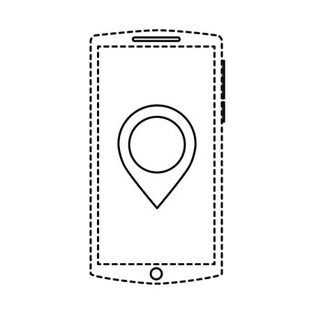 mobile phone screen pointer map app gadget vector illustration