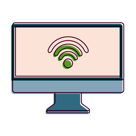Monitor computer with wifi connection screen device, vector illustration.