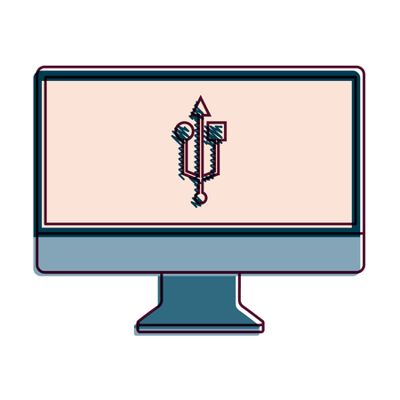 Monitor computer with usb app button screen, vector illustration.