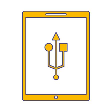 device technology tablet computer usb connection vector illustration Ilustracja