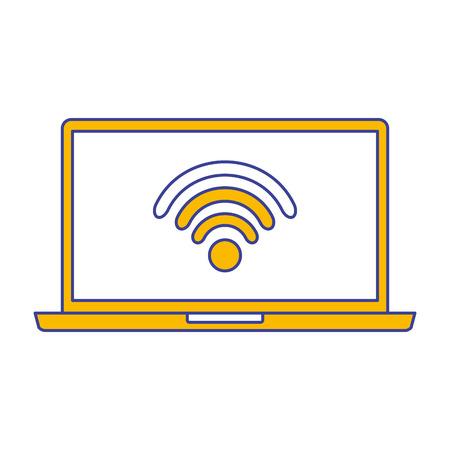 laptop wireless internet device gadget screen vector illustration Ilustração
