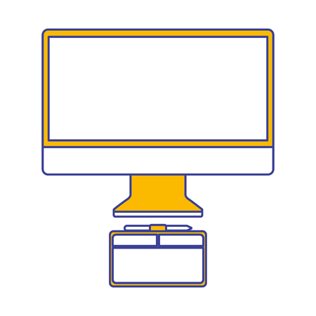monitor computer graphic tablet design equipment vector illustration
