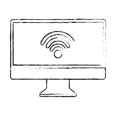 monitor computer wireless internet connection screen device vector illustration