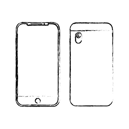 Smartphone gadget digital front and back view design, vector illustration.