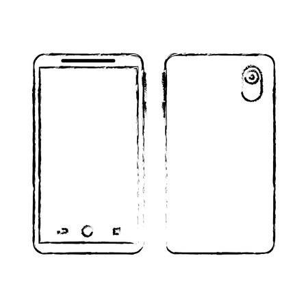 Ontwerp van de het gadget het digitale voor- en achtermening van Smartphone, vectorillustratie. Stock Illustratie