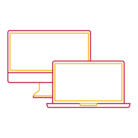 Computer monitor and laptop mockup gadget blank screen  illustration