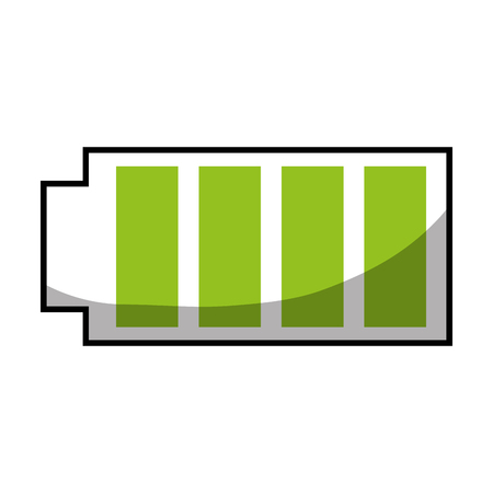 Battery icon with full power charged electric illustration Иллюстрация