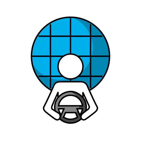 driver at steering wheel autonomous design vector illustration Ilustração