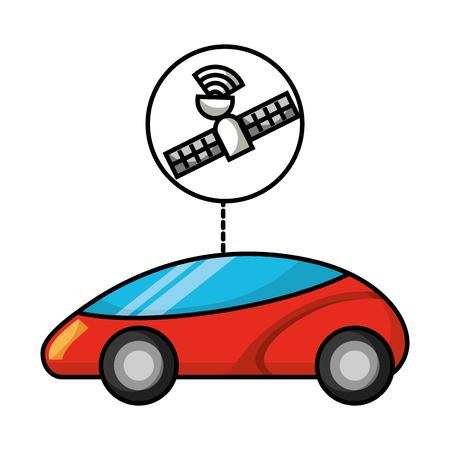 gps navigation car autonomous satellite connection vector illustration