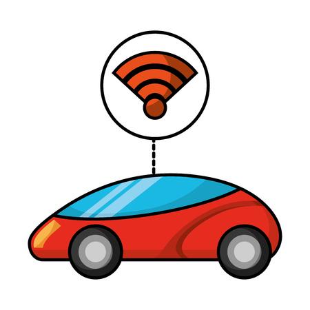 스마트 또는 지능형 자동차 연결 무선 인터넷 기술 벡터 일러스트 레이션