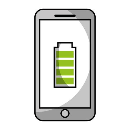 smartphone battery energy full power app vector illustration