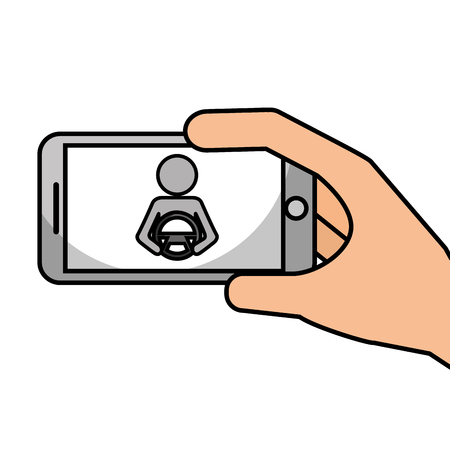 hand holding smartphone gps navigation driver with steering wheel vector illustration Illustration