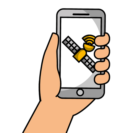 Hand holding smartphone with satellite, vector illustration.