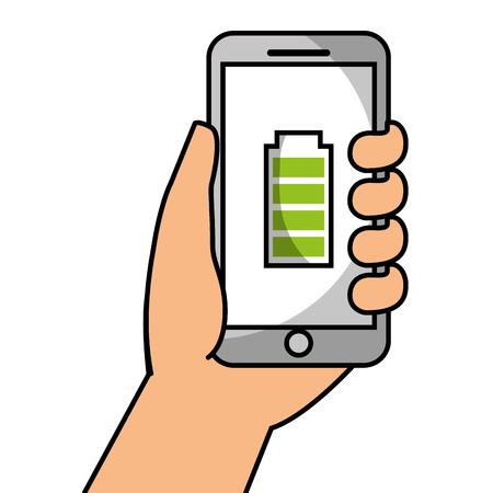 Hand, die Smartphone mit Energiebatterie, Vektorillustration hält. Standard-Bild - 89970893