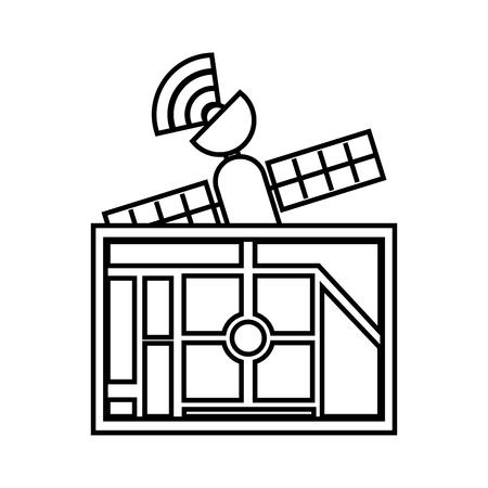 Kaart navigatie satelliet signaal applicatie bestemming, vectorillustratie. Stock Illustratie