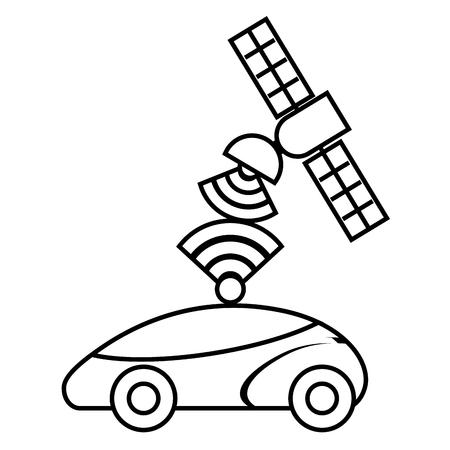 Gps navigatiesatelliet de doelsignaal van de hulpauto, vectorillustratie.