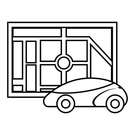 Map navigation car autonomous web application, vector illustration.