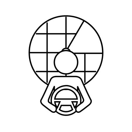 운전대에서 드라이버 자치 디자인, 벡터 일러스트 레이 션입니다.