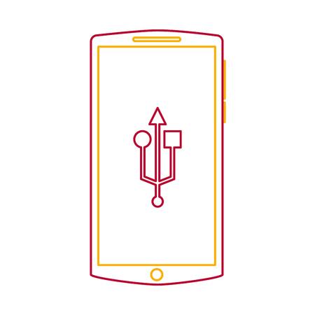 mobile phone usb connection gadget screen vector illustration Illustration