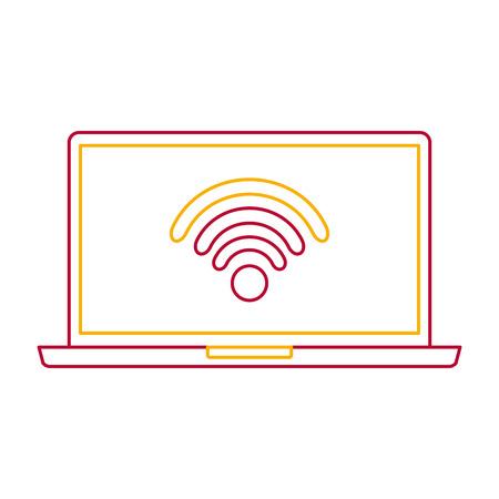 laptop wireless internet device gadget screen vector illustration Illusztráció