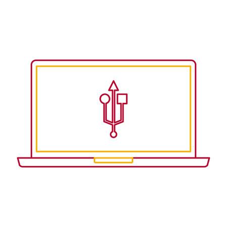 laptop usb device gadget screen technology vector illustration
