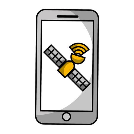 smartphone gps navigation atellite technology vector illustration