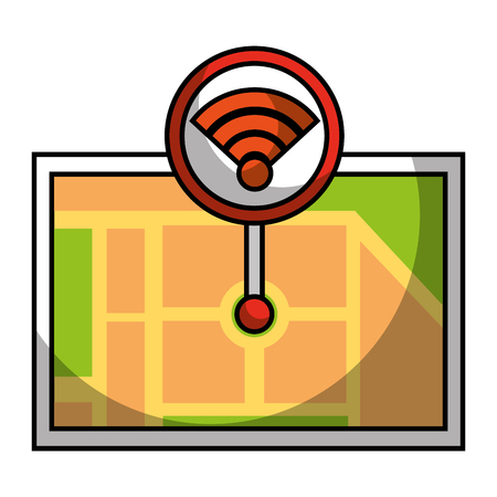 Gps navigation map destination with wifi pointer vector illustration Иллюстрация