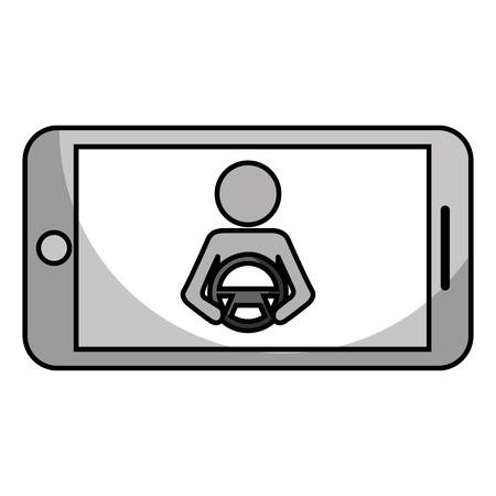 Smartphone gps navigation driver at steering wheel vector illustration