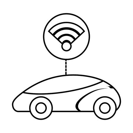스마트 또는 지능형 자동차 연결 wifi 기술 벡터 일러스트 레이션 일러스트