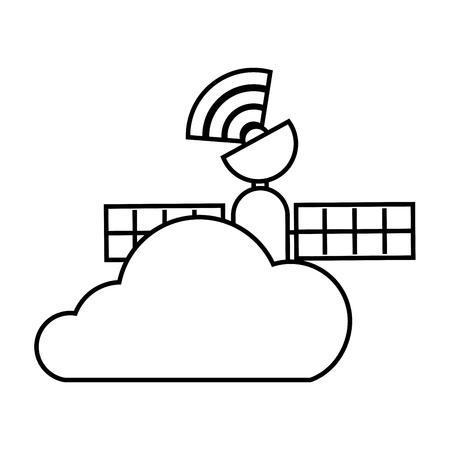 GPS 네비게이션 구름 위성 연결 벡터 일러스트 레이션