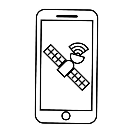 Smartphone gps navigation satellite technology vector illustration