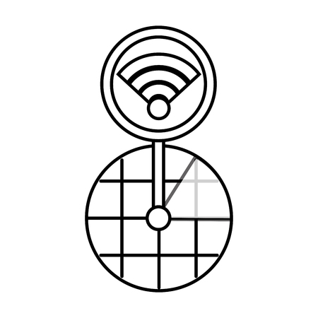 gps navigation screen pointer map wifi connection vector illustration
