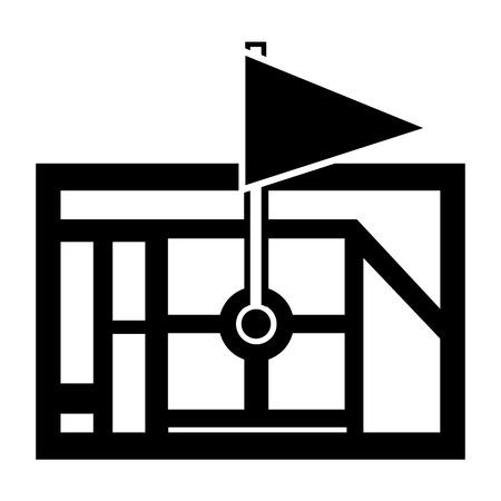 Gps navigation map destination pin map flag vector illustration Ilustrace