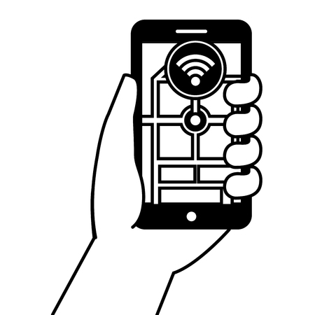 Hand holding smartphone gps navigation connection wifi vector illustration