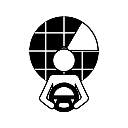 driver at steering wheel autonomous design vector illustration 向量圖像