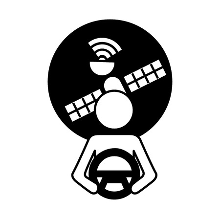Bestuurder bij stuur autonome satellietgps vectorillustratie Stock Illustratie