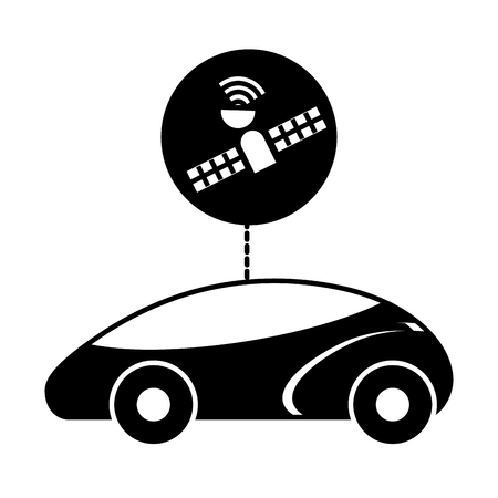GPS navigation car autonomous satellite connection vector illustration