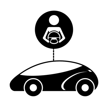 smart or intelligent car driver autonomous futuristic technology vector illustration