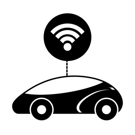 スマートまたは理性的な車接続ワイヤレス ネットワーク技術のベクトル図  イラスト・ベクター素材