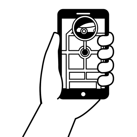 Hand holding smartphone gps navigation car road marker vector illustration