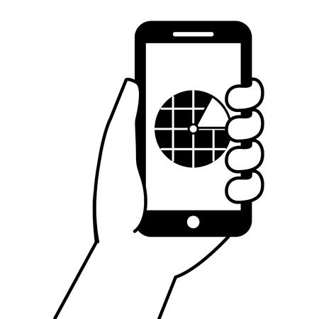 Mão, segurando, smartphone, gps, navegação, tela, vetorial, ilustração