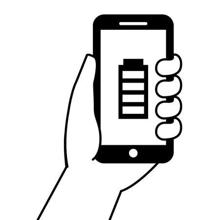 Bergeben Sie das Halten von Smartphone gps-Navigationsenergiebatterie-Vektorillustration Standard-Bild - 89980526