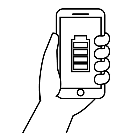 Hand holding smartphone gps navigation energy battery vector illustration Banco de Imagens - 89980528