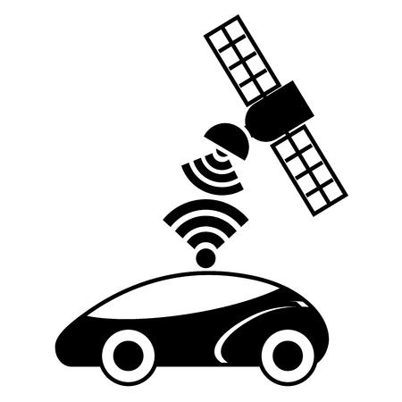 Gps ナビゲーション衛星を助ける車先信号ベクトル図 写真素材 - 89980693