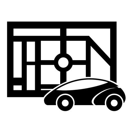 map navigation car autonomous web application vector illustration Ilustração