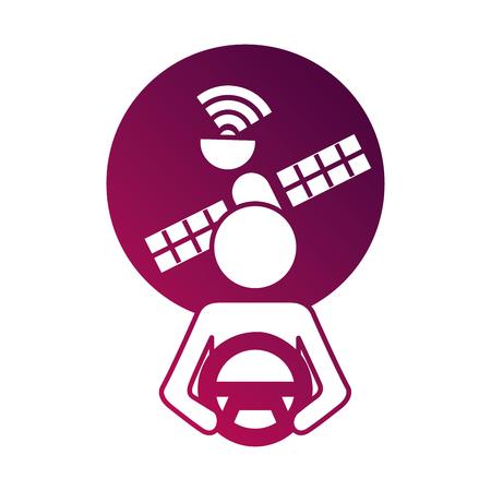 bestuurder bij stuur autonome satelliet gps vectorillustratie