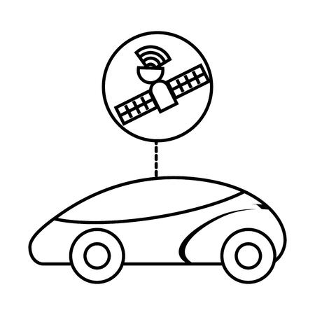스마트 또는 지능형 자동차 미래의 기술 벡터 일러스트 레이션