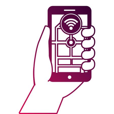 손 들고 스마트 폰 GPS 네비게이션 wifi 신호 벡터 일러스트 레이션