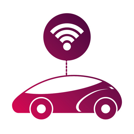 スマートまたは理性的な車接続 wifi 技術ベクトル図  イラスト・ベクター素材